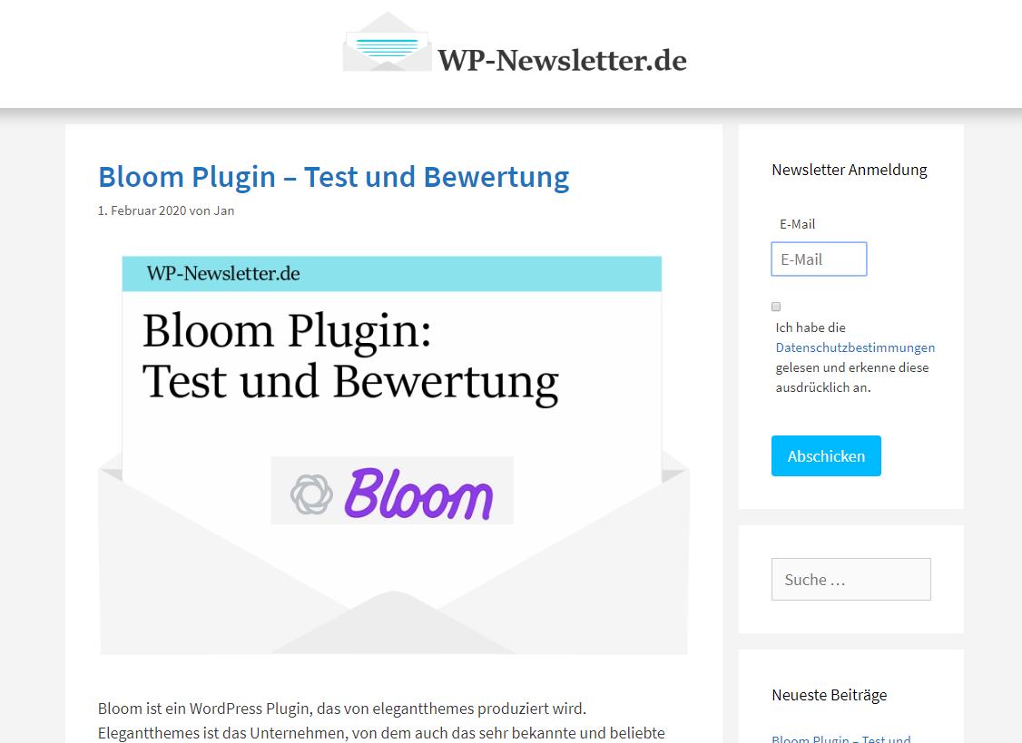 Newsletter Anmeldung erstellen mit dem Standard Plugin