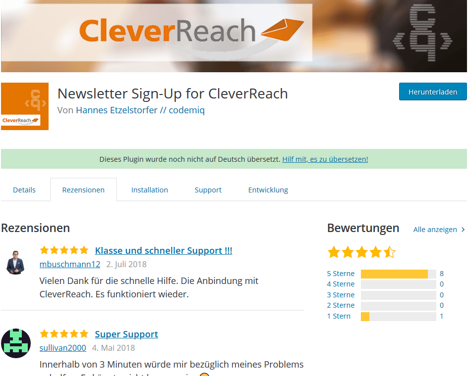 Newsletter Plugin von CleverReach